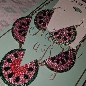 Watermelon necklace and earrings set